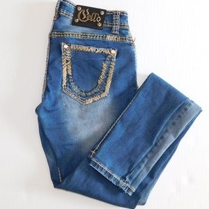 Cello Distressed Embellished Skinny Jeans